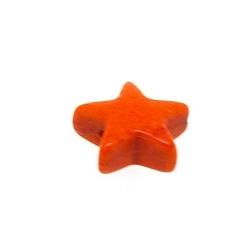 Gekleurd Turquoise kraal, oranje, ster, 11 mm (ca 42 st.)