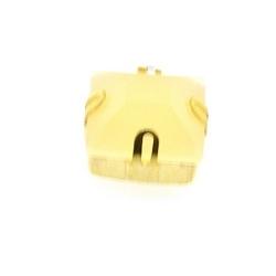 Rijgkastje met kunststof facetsteen, vierkant, twee rijggaatjes, nude, 10 mm (3 st.)