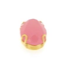 Rijgkastje met kunststof facetsteen, ovaal, twee rijggaatjes, roze, 14 x 10 mm (5 st.)