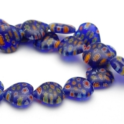 Glaskraal, hartje, donkerblauw, millifiori (10 st.)