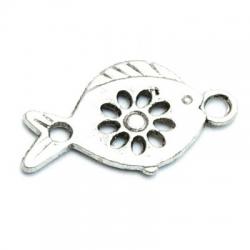 Metaal, bedel, vis, opengewerkt, plat, zilver, 25 mm (3 st.)
