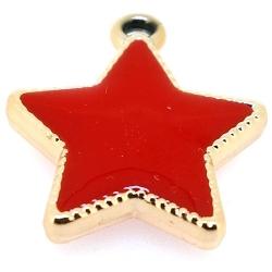 Resin, hanger, ster, rood, 30 mm (3 st.)