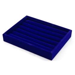 Ringendoos, velours, blauw, open (1 st.)