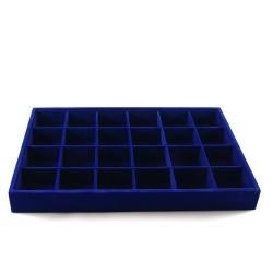 Vakjesdisplay, open, 24 vakjes, velours, blauw (1 st.)