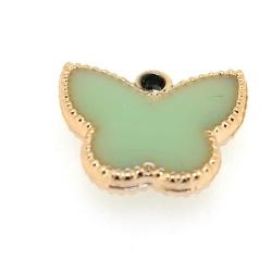 Resin, hanger, vlinder, mintgroen, 14 x 17 mm (6 st.)