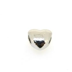 DQ metaal, leerschuiver, zilver, hart, 10 mm, voor rond leer van max 4 mm (5 st.)