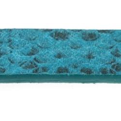 Snakeleather, plat, petrol/zwart, 1 cm (1.20 mtr.)