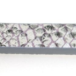 Snakeleather, plat, zilver/zwart, 1 cm (1.20 mtr.)