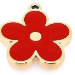 Resin, hanger, bloem, rood, 37 mm (2 st.)
