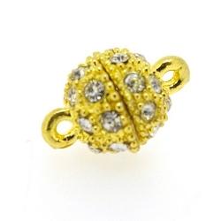 Magneetslot, goud, strass, 10 mm (3 st.)