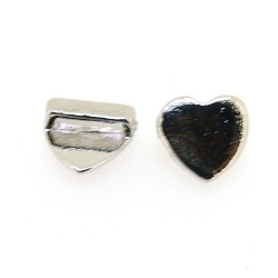 DQ Metaal, leerschuiver, zilver, hart, 10 mm, voor leer/veter van max 8 x 2 mm (3 st.)