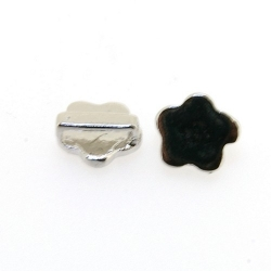 DQ Metaal, leerschuiver, zilver, bloem, 10 mm, voor leer/veter van max 8 x 2 mm (3 st.)