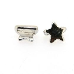 DQ Metaal, leerschuiver, zilver, ster, 12 mm, voor leer/veter van max. 10 x 2 mm (3 st.)