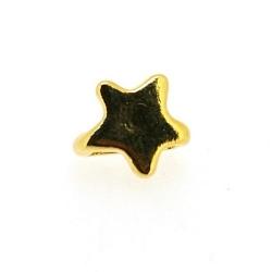 DQ metaal, leerschuiver, goud, ster, ster, 10 mm, voor leer/veter van max 7.5 mm (3 st.)