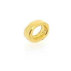 Metaal, leerschuiver, goud, 8 x 10 mm, voor leer van max 7,6 x 4 mm (4 st.)