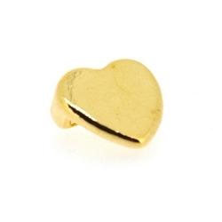 DQ leerschuiver goud hart 10mm (3 st.)