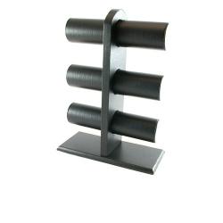 Armband display, staand, PU leer zwart, 6 rollen (1 st.)