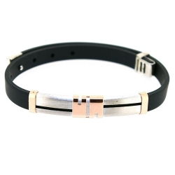Armband, zwart rubber met sterling zilver (1 st.)