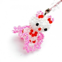 GSM hanger, Hello Kitty, wit/roze/z. beentjes, 30 mm (1 st.)