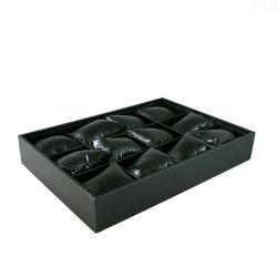 Displaydoos voor armbanden/horloges, PU leer, zwart, 12 kussentjes (1 st.)