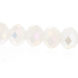 Facetkraal, donut, wit, AB, 4 x 6 mm (streng)