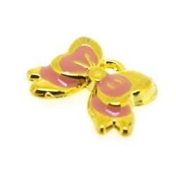 Metaal, bedel, goud, roze emaille, strikje, 10 x 14 mm (5 st.)