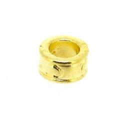 Metaal, leerschuiver, goud, rond, 8 mm, voor leer/veter van max 5 mm (5 st.)