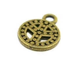 Metaal, bedel, antique goud, peaceteken, 17 mm (5 st.)