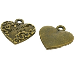 Metaal, bedel, antique goud, hartje, 'Made with love', 20 mm (3 st.)