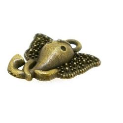 Metaal, bedel, antique goud, olifant, 16 mm (5 st.)