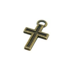 Metaal, bedel, antique goud, kruisje, 15 mm (10 st.)
