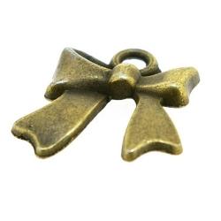 Metaal, bedel, antique goud, strikje, 18 x 14 mm (3 st.)