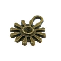 Metaal, bedel, antique goud, bloemetje, 15 mm (10 st.)
