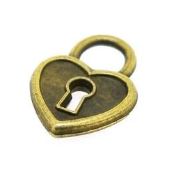 Metaal, bedel, antique goud, hartje met sleutelgat, 20 mm (5 st.)