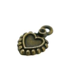Metaal, bedel, antique goud, hartje, 13 mm (10 st.)