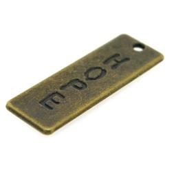 Metaal, bedel, antique goud, 'Hope', 35 x 12 mm (3 st.)