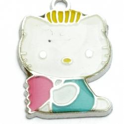 Metaal, bedel, Hello Kitty, gebroken hart, blauw, 26 mm (1 st.)