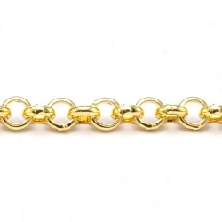 Jasseron ketting, goud, rond, 3 mm (2 mtr.)