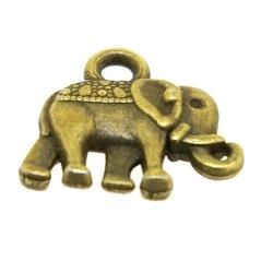 Metaal, bedel, antique goud, olifant, 12 mm (5 st.)