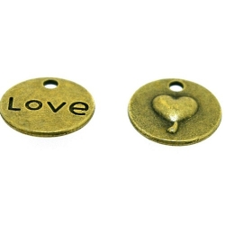 Metaal, bedel, antique goud, 'Love', 14 mm (5 st.)