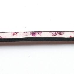 Natuurleer plat bloem wit/paars 5mm (85 cm)