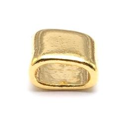 DQ metaal leerschuiver goud 10x8mm (10 st.)