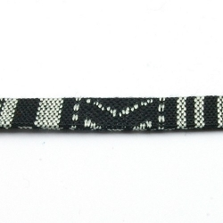 Aztec koord plat zwart/wit 10 mm (1 mtr.)