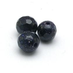 Blue Goldstone kraal rond facet 8 mm (10 st)