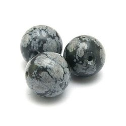 Snowflake Obsidian kraal rond 12 mm (5 st.)