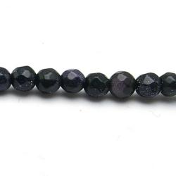 Blue Goldstone kraal rond facet 4 mm (20 st)