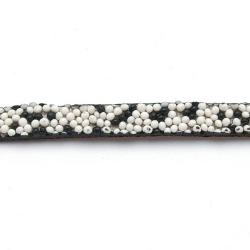 Natuurleer plat zwart/wit 5mm (1 mtr.)