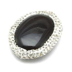 Agaat kraal glitter ovaal zwart 30x22 mm (1 st.)