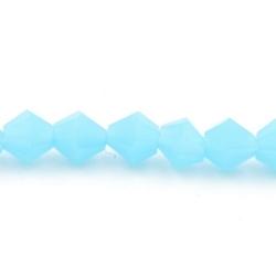 Facet kraal bicone lichtblauw 4mm (streng)