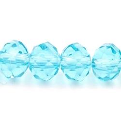 Facet kraal donut blauw 4x6mm (streng)